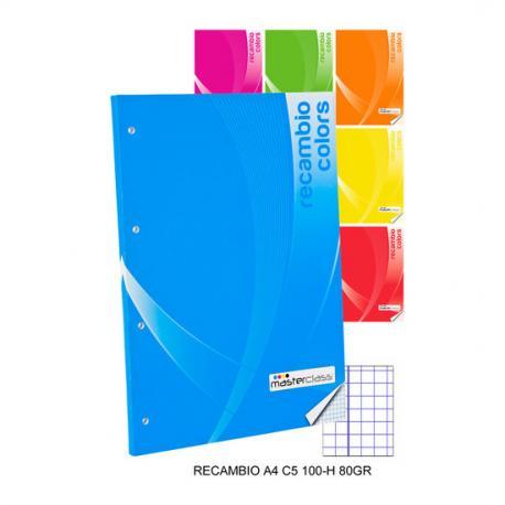 Recambio Cuadricula 5mm 100 Hojas 80 Gramos, MASTERCLASS, -COLORS-, A4 - Imagen 1